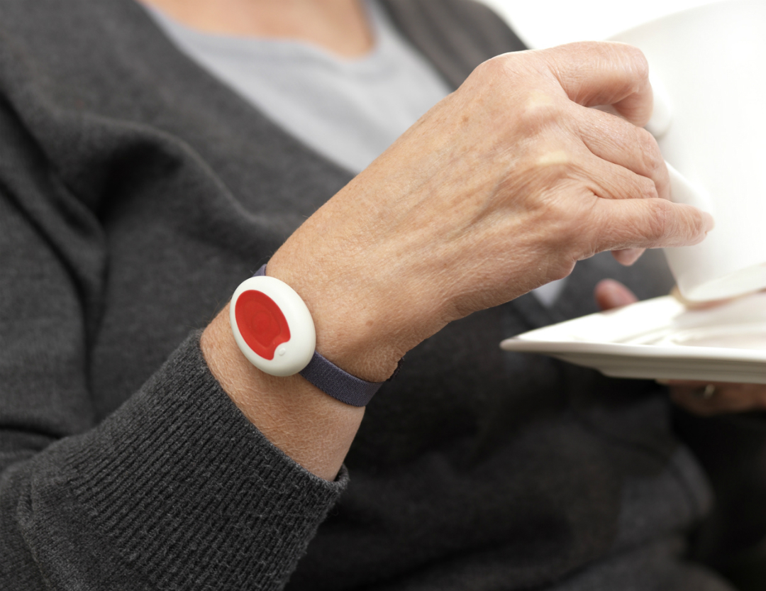 Closeup of a Telecare wristband being worn