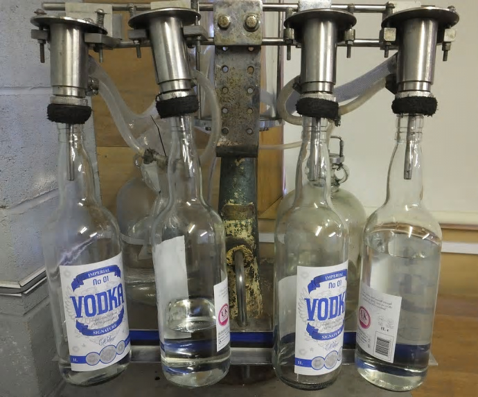Some of the fake vodka which was seized by HMRC in Aintree