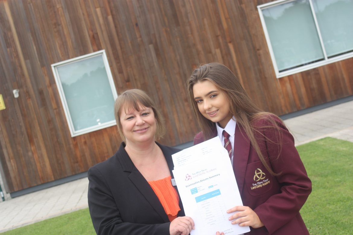 Lord Derby Academy Head Vicky Gowan with pupil Shannon Riley, who gained 11 GCSEs Grade C+, including 2 As and 2A*s.