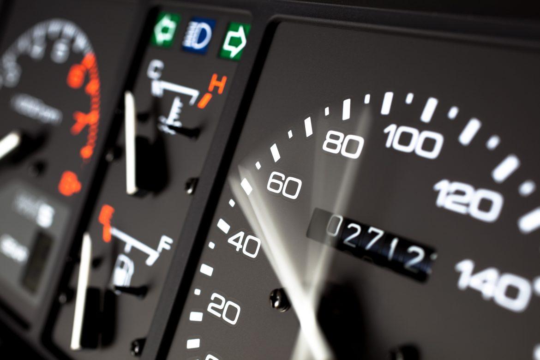 Speedometer inside a car