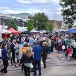 Crowds enjoying Foodie Friday at Huyton Village
