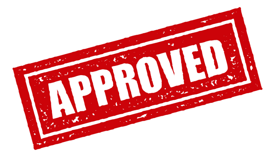 Image shows red rubber stamped print reading 'approved'