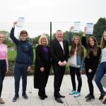 Halewood Academy students celebrate their GCSE results with Cllrs Shelley Powell and Sean Donnelly