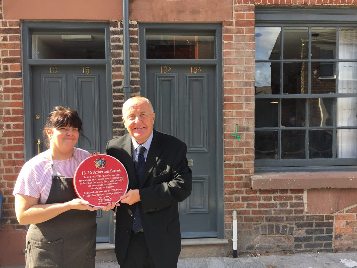 Cllr Tony Brennan and Nina Halliwell, the owner of Albion Bakehouse and Down in Albion