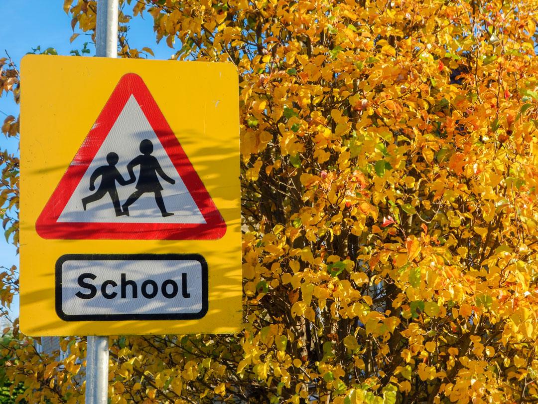 School warning road sign