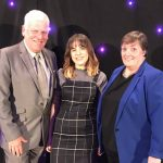 Celebration of Achievement 2018. Cllr Graham Morgan (left) and Cllr Marget Harvey (right) with Kayleigh who performed on the evening