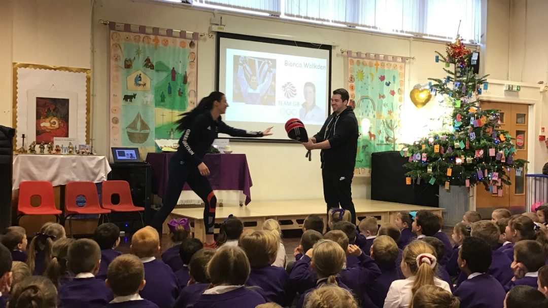 St Mary and St Paul's CE Primary School received a VIP visit from Olympic athlete and Taekwondo star Bianca Walkden as part of a new drive to encourage children and parents to get active together.