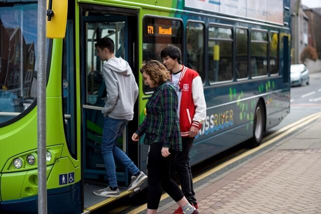 Passengers boarding Liverpool City Region bus