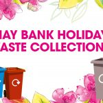 Grey bin, blue bin, maroon bin - next to text May Bank Holiday waste collections graphic text