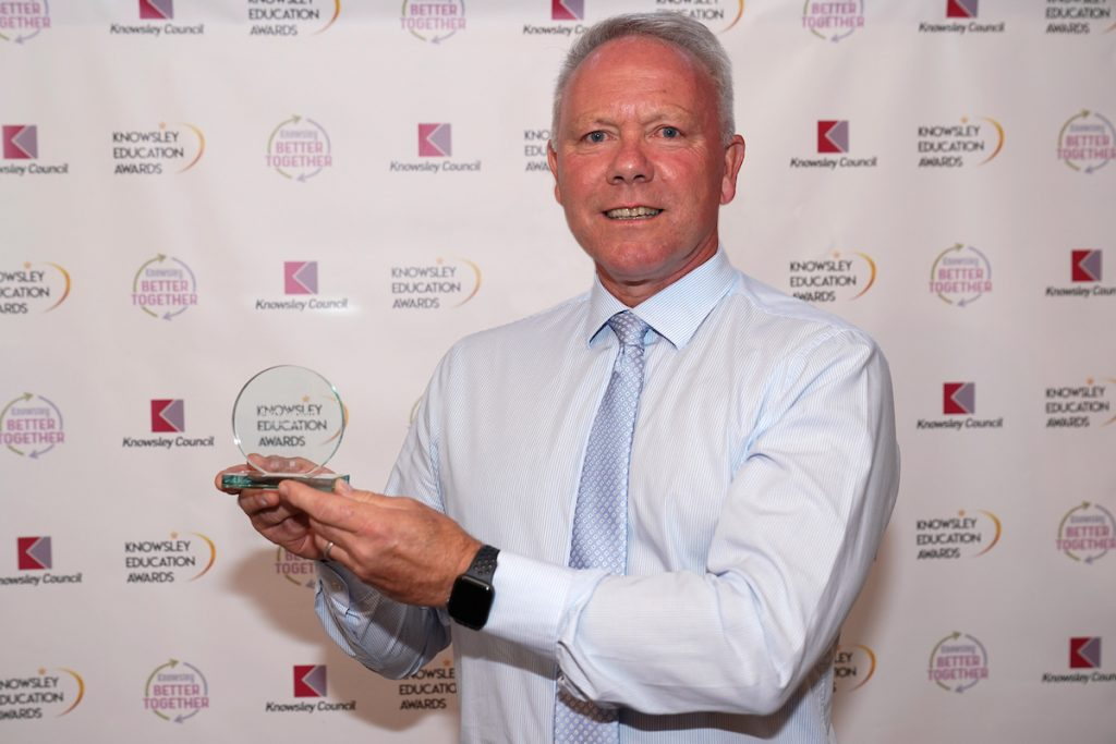 Barry Kerwin winner of the Education Leadership Award at the Knowsley Education Awards 2019