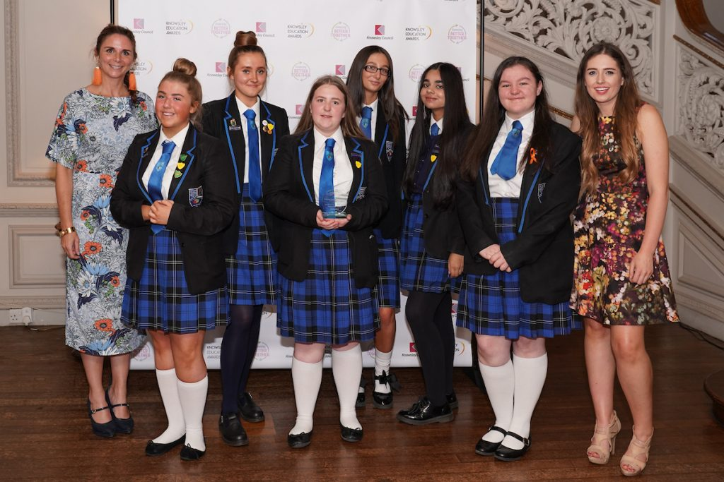 Future Female Leaders at Halewood Academy - winners of Transforming Lives Through Partnership Award at the Knowsley Education Awards 2019
