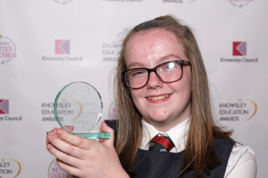 Jessica Hughes - winner of Outstanding Contribution to School Life (Secondary) at the Knowsley Education Awards 2019