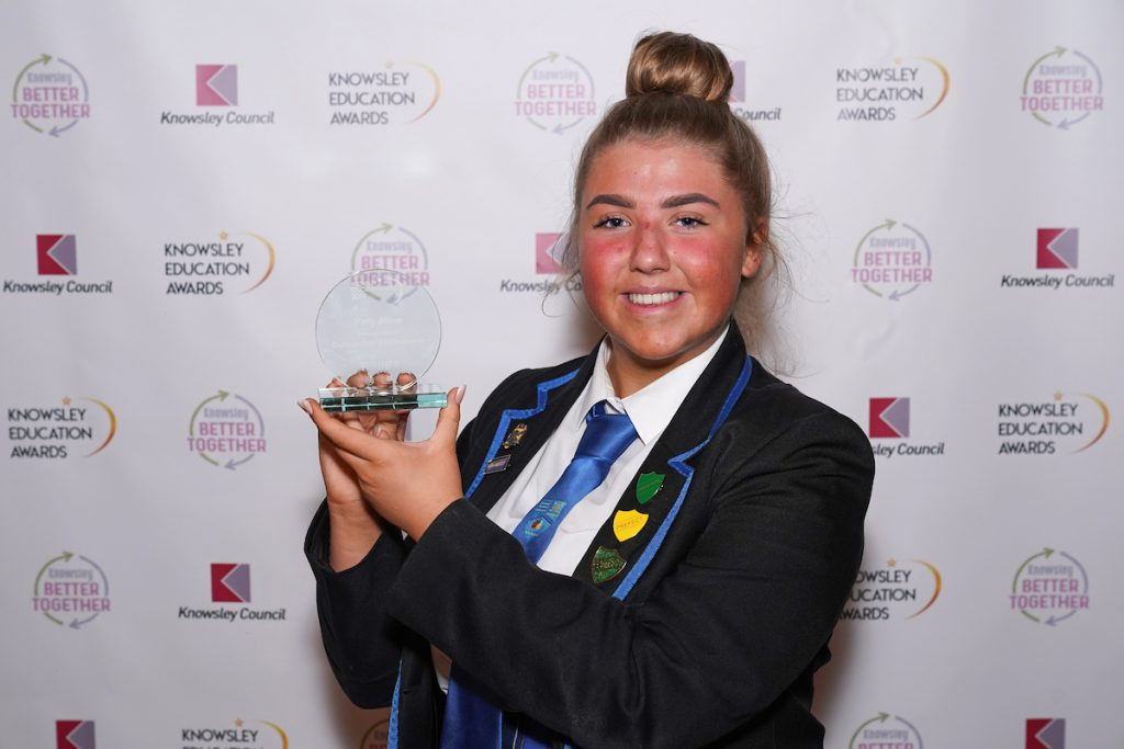 Katy Allen - winner of Outstanding Achievement (Secondary) at the Knowsley Education Awards 2019