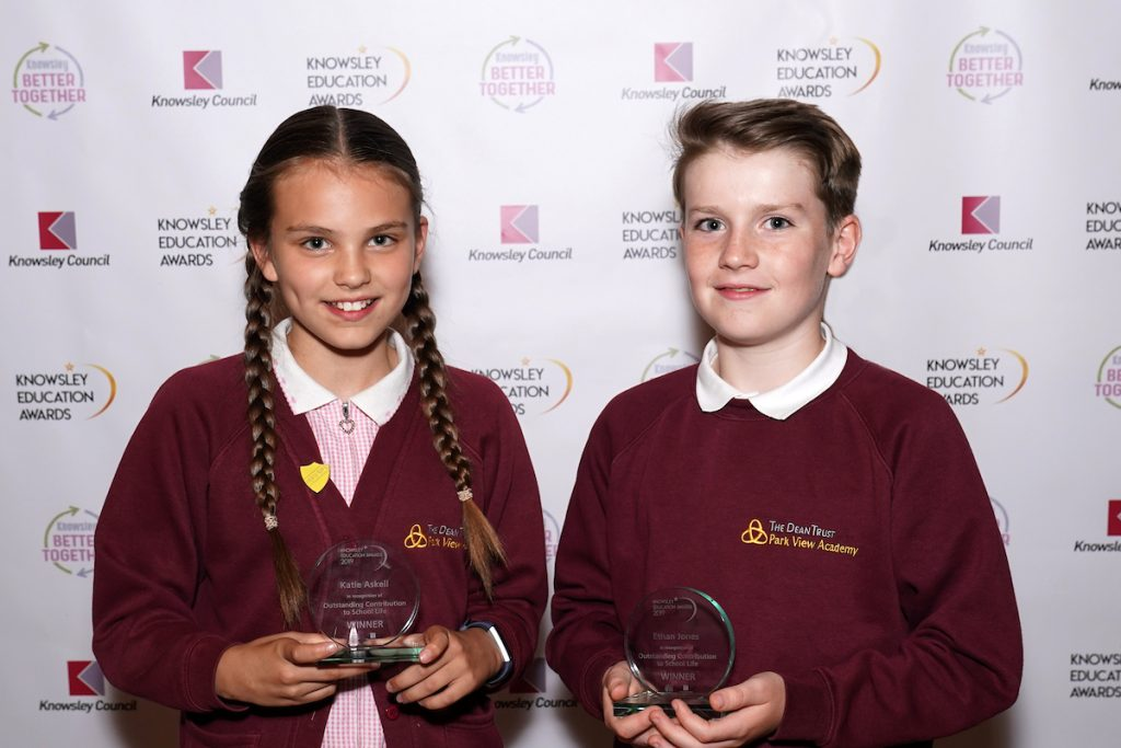 Katie Askell and Ethan Jones - joint winners of Outstanding Contribution to School Life (Primary) at the Knowsley Education Awards 2019