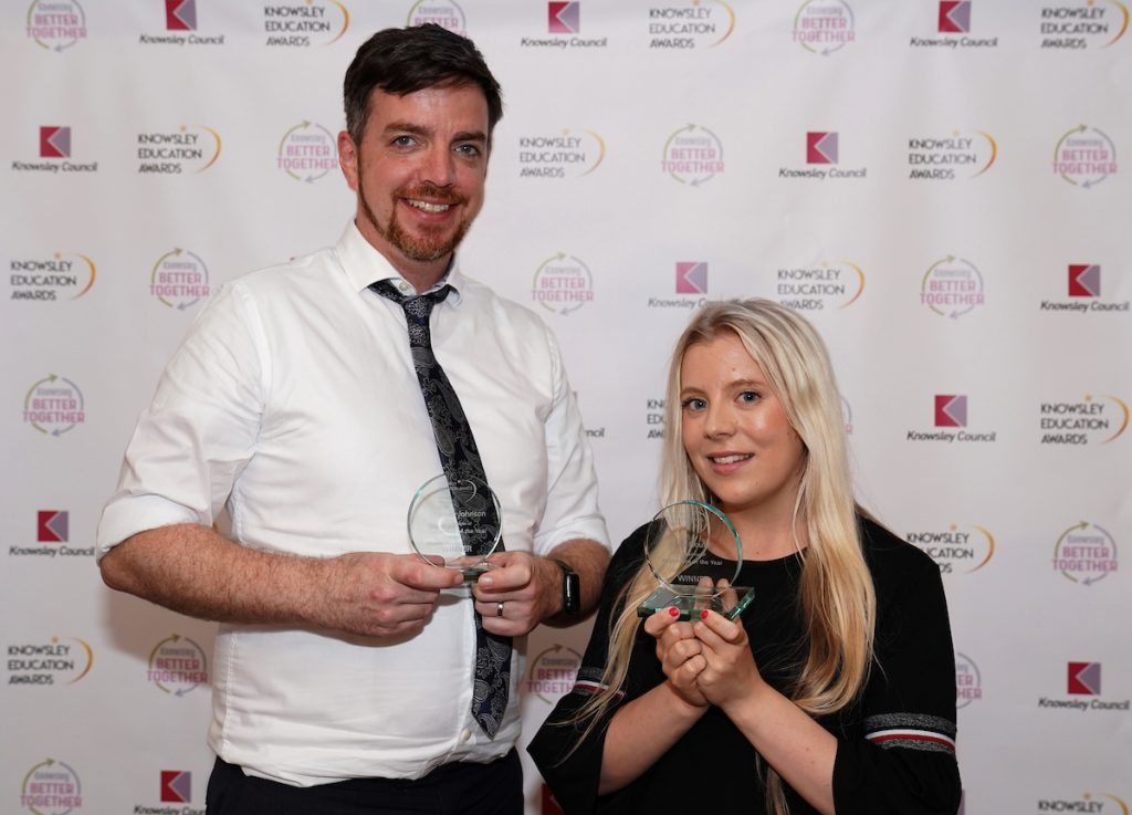 Stephen Johnson and Leah Gould - joint winners of Apprentice of the Year at the Knowsley Education Awards 2019