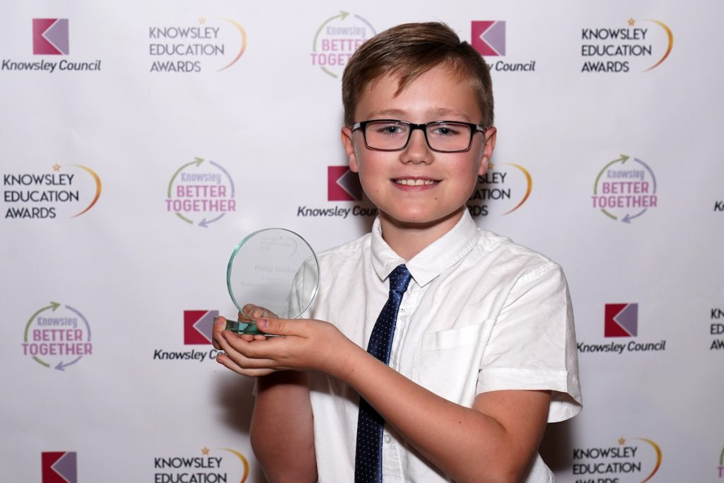 Philip Walker winner of Outstanding Achievement (Primary) at the Knowsley Education Awards 2019