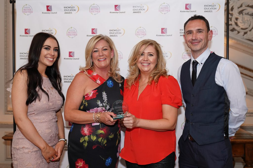 St Columba's Attendance Team - joint Team of the year winners at Knowsley Education Awards 2019