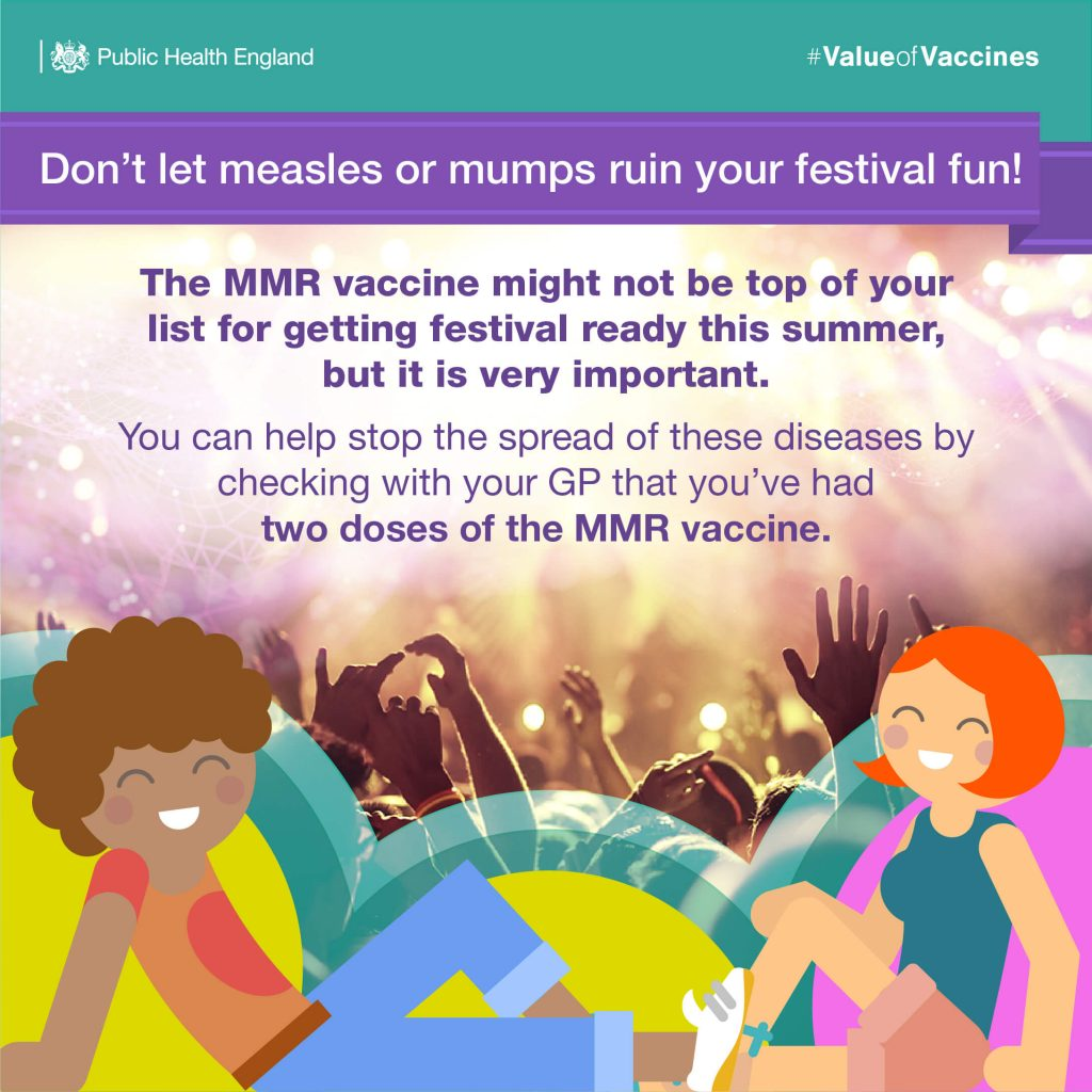Public Health England poster advising don't let measles or mumps ruin any festival fun