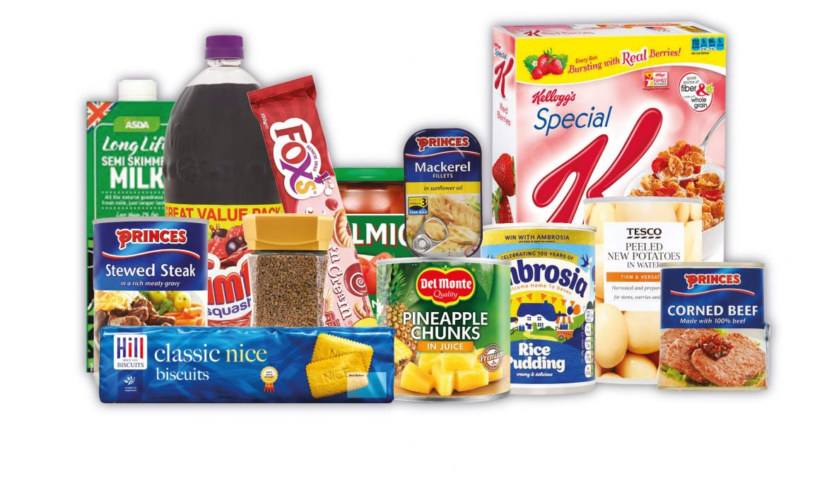 Items of food that can be donated at a food bank