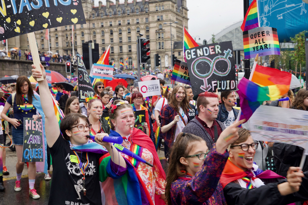 People join in the Pride in Liverpool March 2019