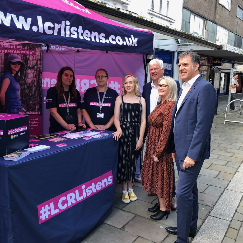 Cllr Graham Morgan and Metro Mayor Steve Rotheram at the launch of LCR Listens with local business owner Louise Gillespie with resident Emily Snooks