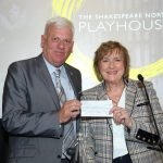 Cllr Graham Morgan, leader of Knowsley Council, with Lady Anne Dodd, who handed over a cheque for £250k to support the new Shakespeare North Playhouse