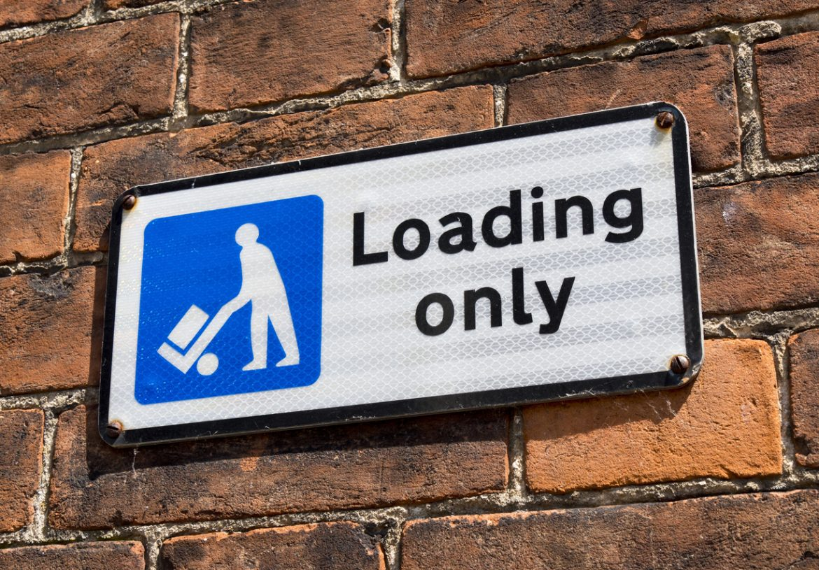 Sign says loading only