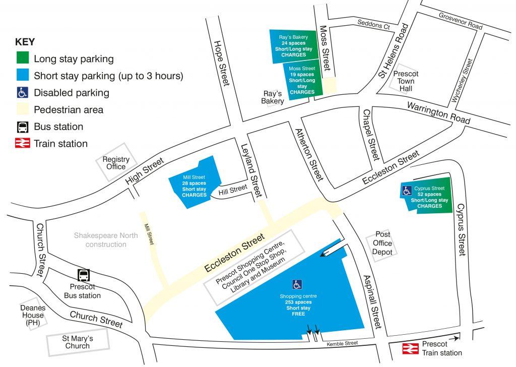 Prescot parking map