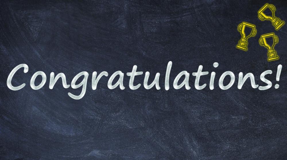 Congratulations written on a blackboard