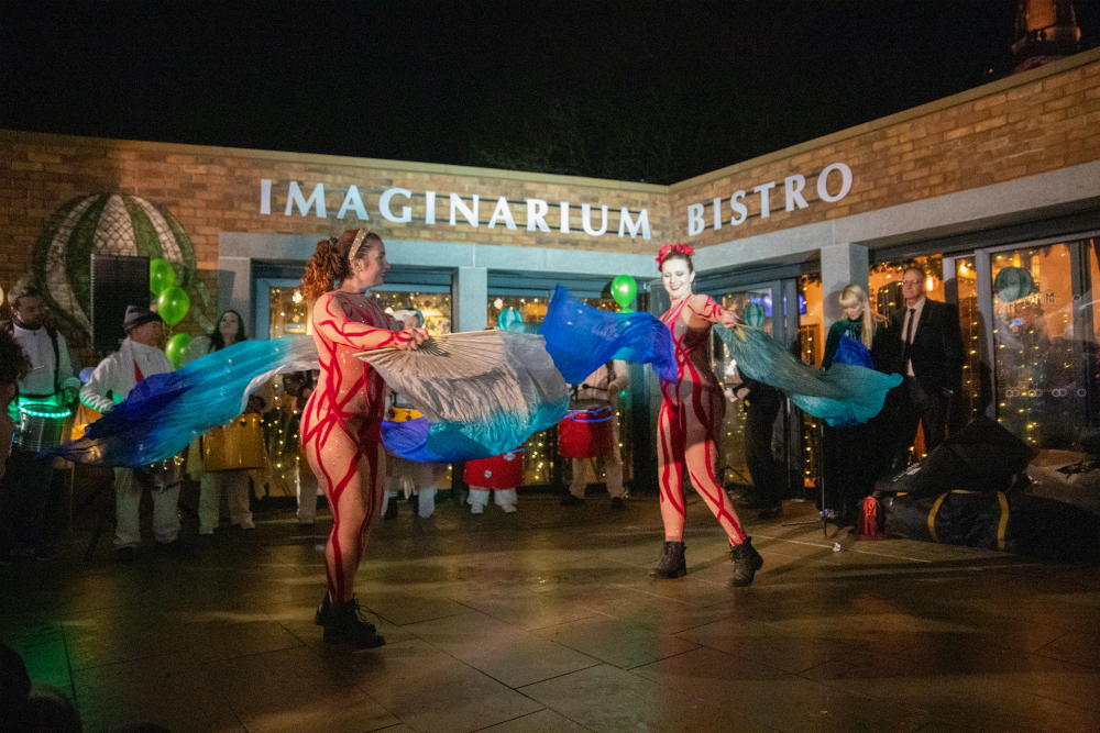 Fire dancers at the official opening of Imaginarium Bistro in Prescot