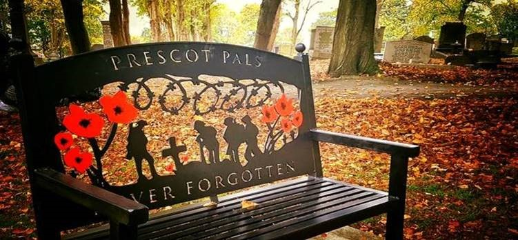 Memorial bench for Remembrance in Prescot Churchyard