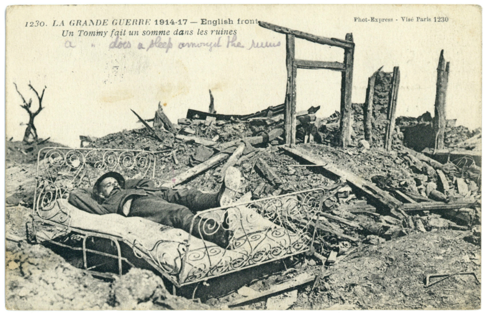 A postcard from World War 1, currently on display in Huyton Library.