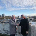 Cllr Morgan and Metro Mayor Steve Rotheram at the site of the Kirkby town centre redevelopment