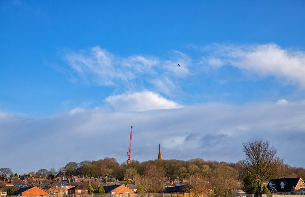 Shakespeare North Playhouse, 150ft crane on the Prescot skyline