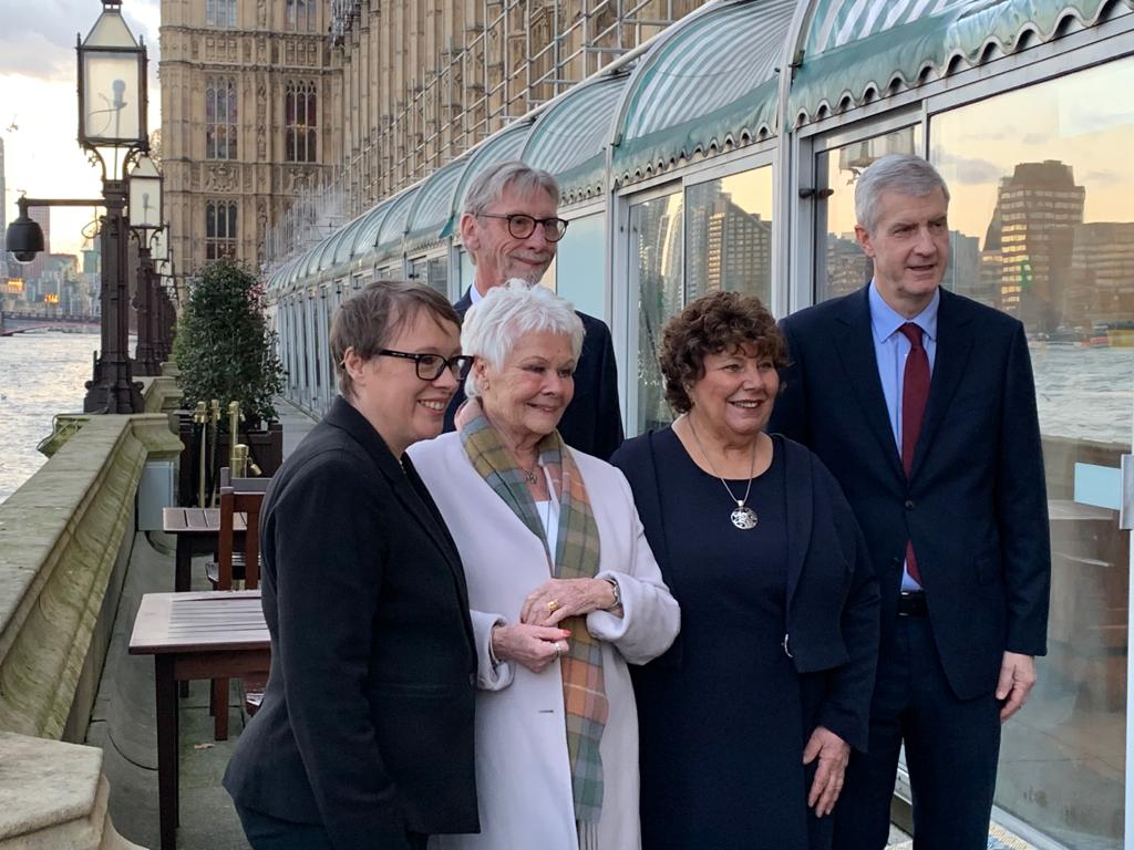 Maria Eagle MP for Garston and Halewood, Dame Judi Dench, George Howarth (MP for Knowsley), Marie Rimmer (St Helens South MP), Derek Twigg (Halton MP) at the Shakespeare North Playhouse event at the Houses of Parliament in London.