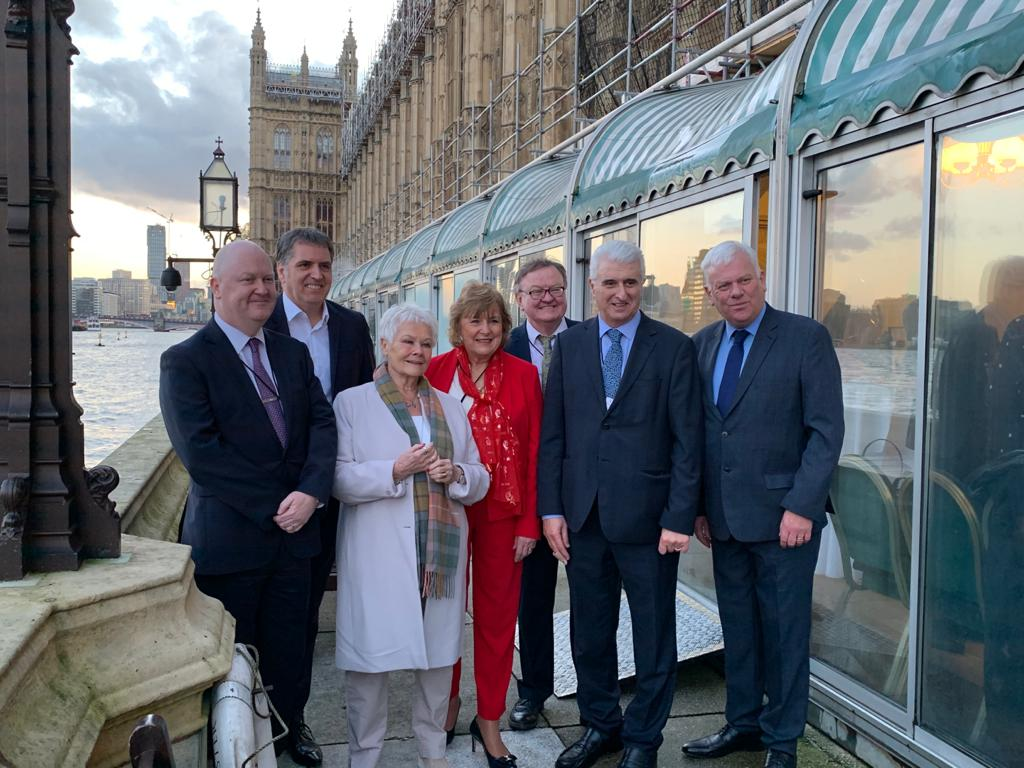 Pictured at the Shakespeare North Playhouse event at the Houses of Parliament are (from left to right) Mike Harden, Chief Executive of Knowsley Council, Liverpool City Region Metro Mayor Steve Rotheram, Dame Judi Dench, Lady Anne Dodd, Interim Chief Executive of The Shakespeare North Playhouse Ian Tabbron, Chair of the Development Committee for the Shakespeare North Trust Max Steinberg and Leader of Knowsley Council, Cllr Graham Morgan.