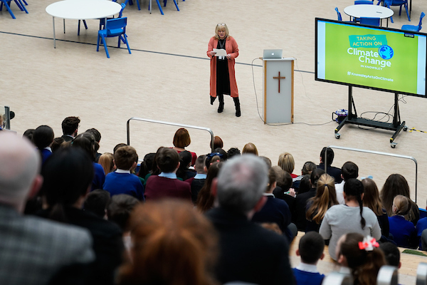 Cllr Shelley Powell speaks at the Knowsley Schools Climate Change Summit