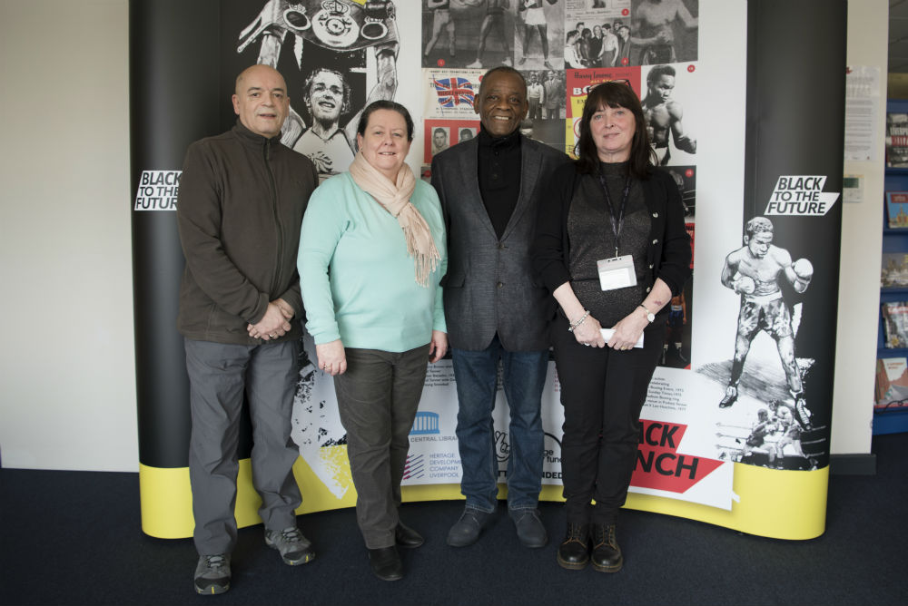 L-R: Ray Quarless, Directors of the Heritage Development Company Liverpool' Cllr Aston, Knowsley Cabinet Member for Resources; Louis Julienne, Director of the Heritage Development Company Liverpool and Lin Rice, Knowsley Librarian: Community History.