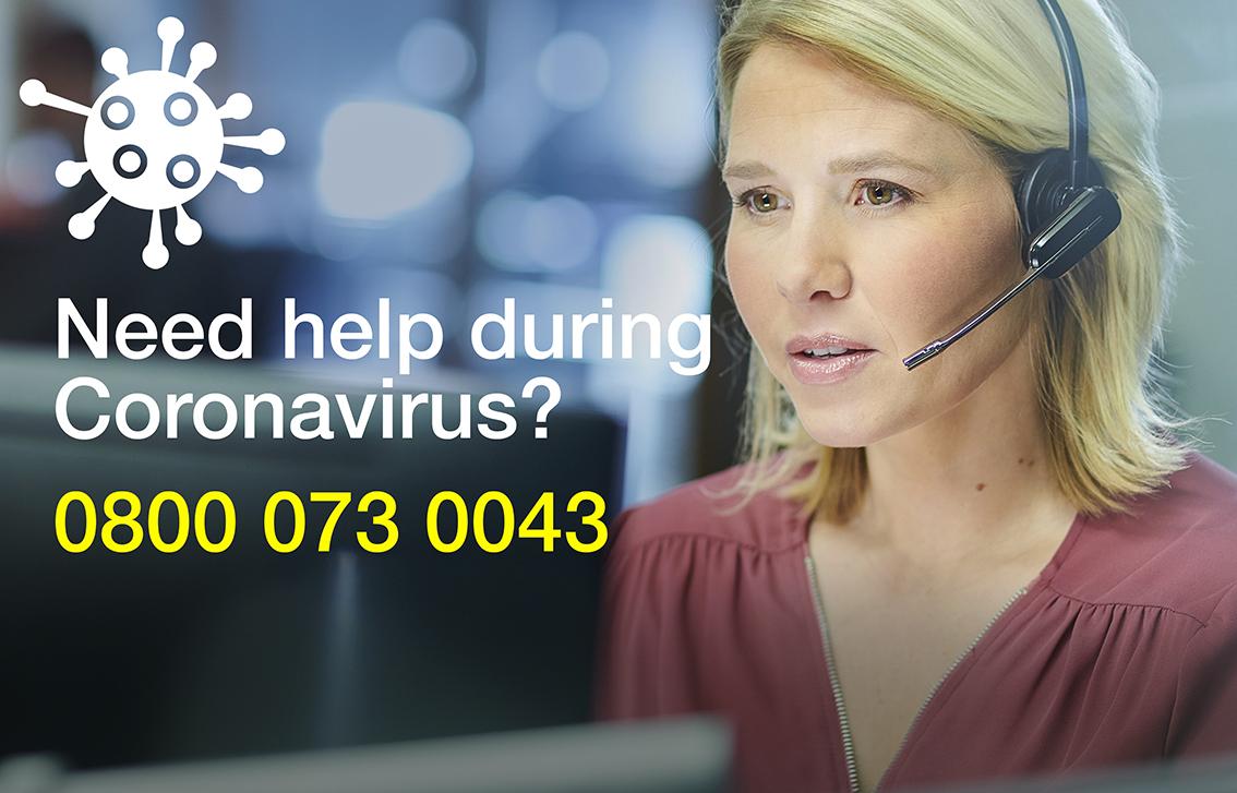 help during coronavirus from volunteer hub helpline