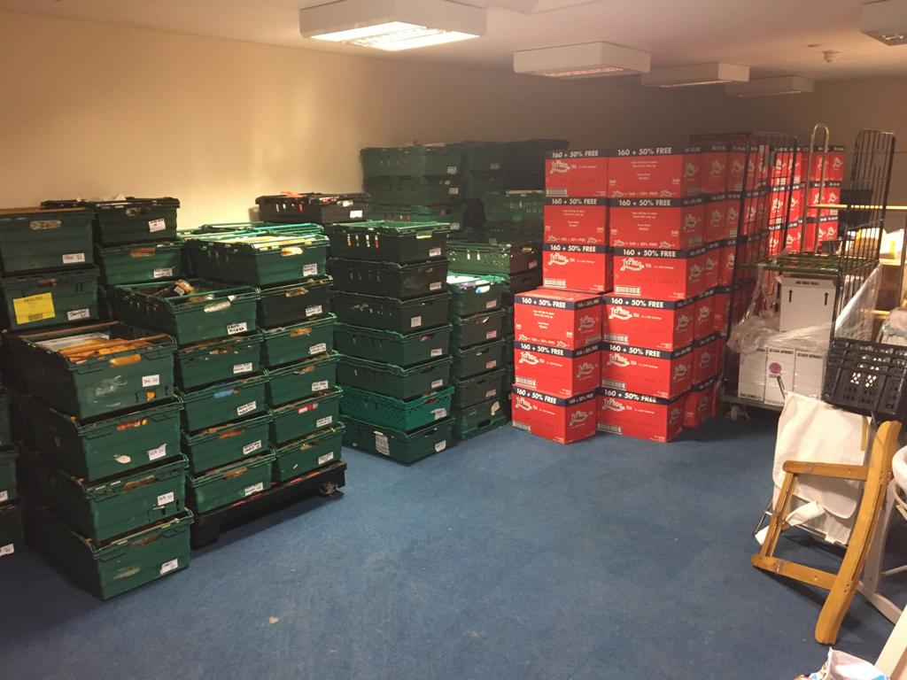 Some of the food donated by Home Bargains being stored at the Big Help Foodbank warehouse