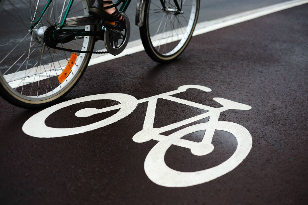 Bike on a cycle lane