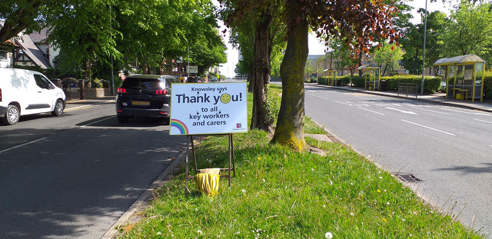 Signs are being installed around key road networks across Knowsley thanking key workers and carers for the work they are doing during these challenging times.