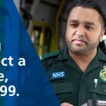 photo of paramedic with the words if you suspect stroke dial 999