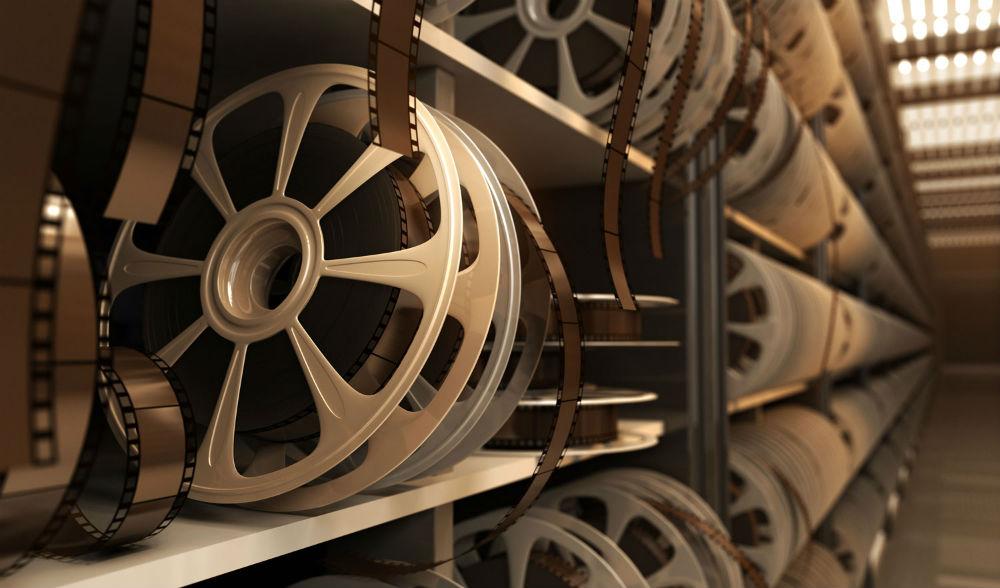 shelves full with film reels