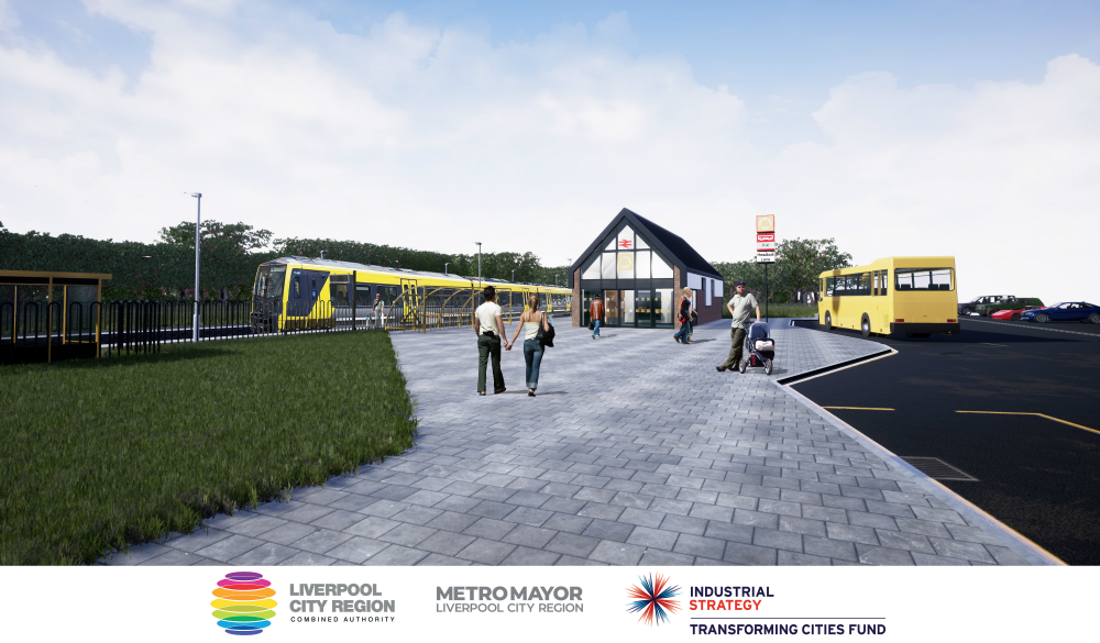 This CGI image shows how the new station at Kirkby Headbolt Lane could look