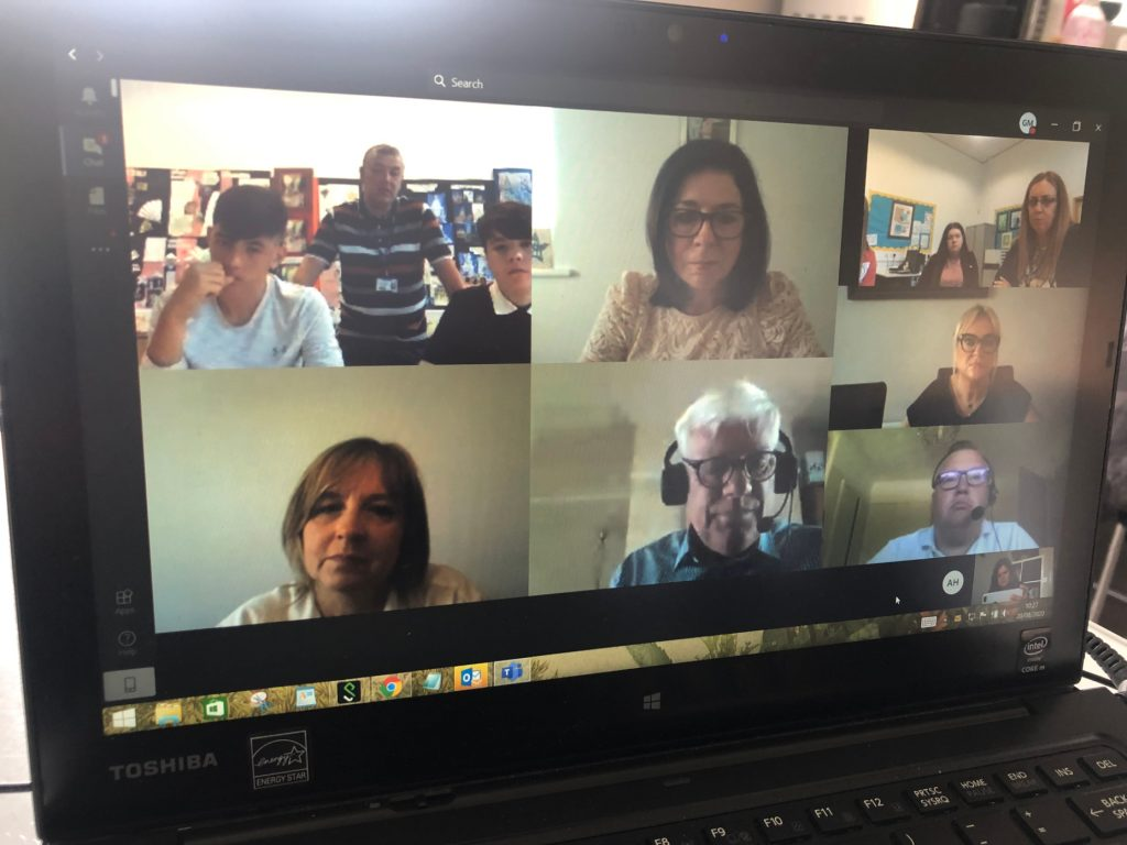 Microsoft Teams call with All Saints pupils on GCSE results day