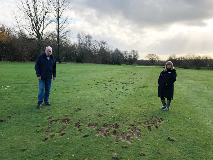 Cllr Graham Morgan and Cllr Shelley Powell look at the latest damage caused to Bowring Park Golf Course