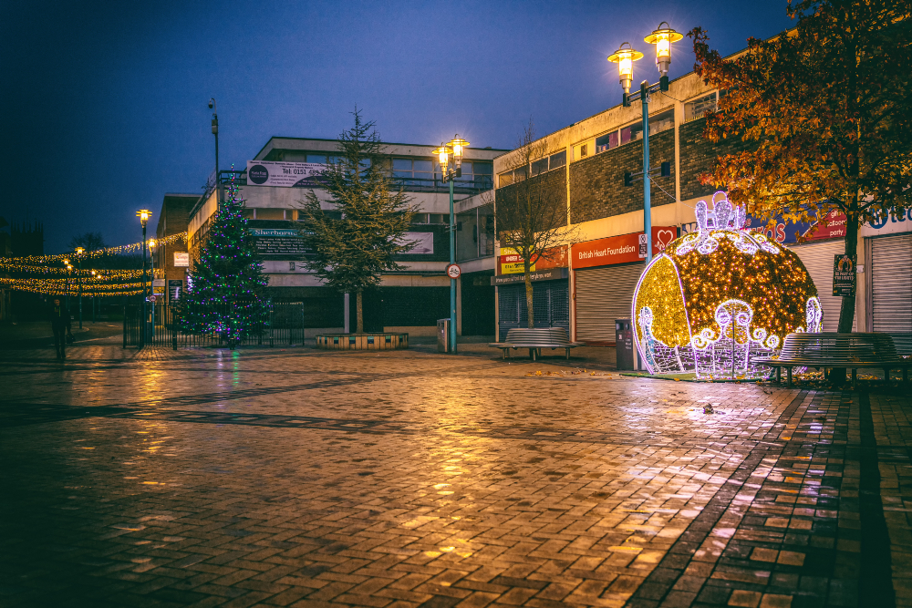 Huyton Town Centre's Christmas lights in November 2020