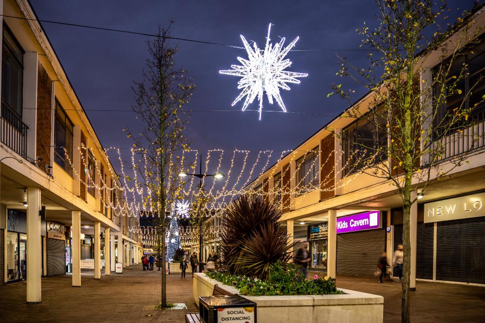 Kirkby Town Centre's Christmas lights in November 2020