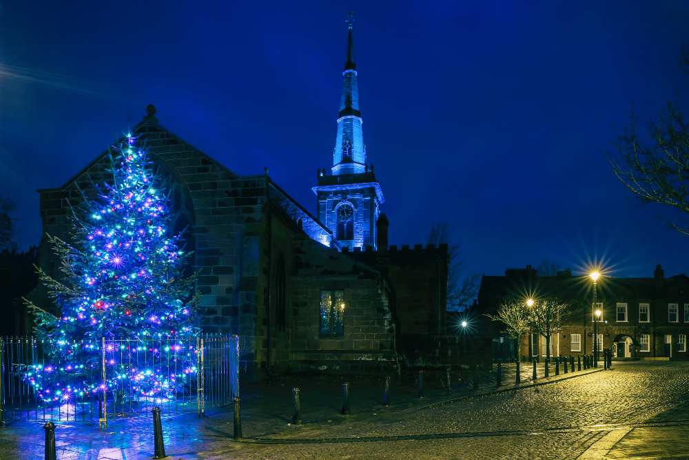 Prescot Town Centre's Christmas lights in November 2020